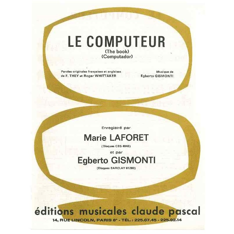 Sheet music LE COMPUTEUR (THE BOOK) (COMPUTADOR) Marie LAFORET and Egberto GISMONTI