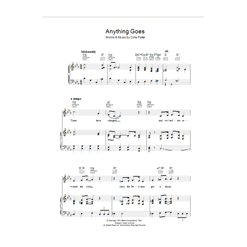 Sheet music ANYTHING GOES Cole Porter