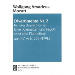 Partition DIVERTIMENTO NR. 2 KV ANH. 229 Wolfgang Amadeus Mozart