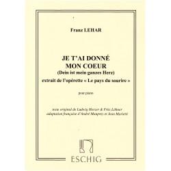 Sheet music JE T'AI DONNÉ MON CŒUR Franz Lehár