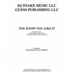Partition YOU KNOW YOU LIKE IT DJ Snake & Aluna George